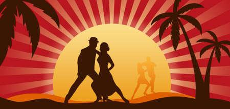 baile salsa: Siluetas de los bailarines en un contexto de una puesta de sol Foto de archivo
