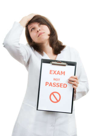Sad physician student passed not difficult examination photo