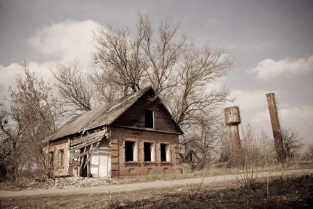 Abandoned house after fire in retro colors Stock Photo - 4609515