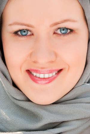 Syryjski: Happy muzułmańskich w pobliżu kobieta-up portret