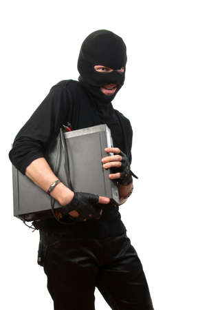 Robber in a mask with device in hands isolated over white Stock Photo - 4941109
