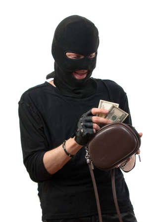 Robber counts money from stolen handbag. Isolated over white. Stock Photo - 4941093