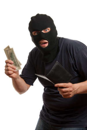 Surprised robber takes money from stolen wallet. Isolated over white. Stock Photo - 4941104