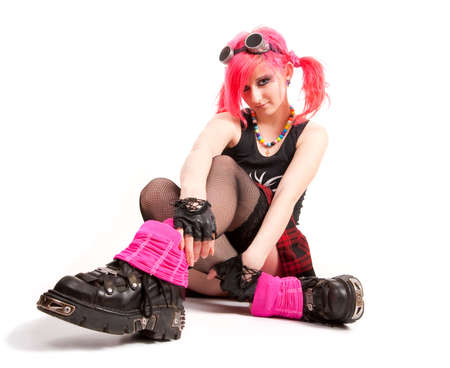 fanatic studio: Punk girl portrait in studio isolated over white background Stock Photo