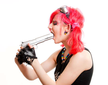 fanatic studio: Punk girl is going to commit suicide. Isolated over white background Stock Photo