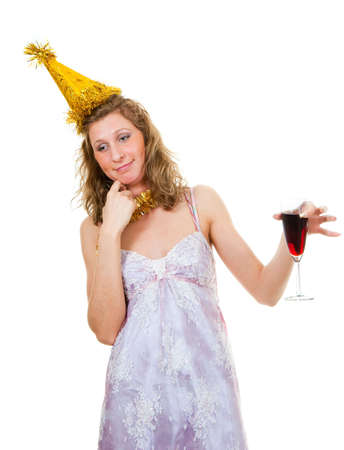 drunk girl: Drunk girl with a glass of wine at a party