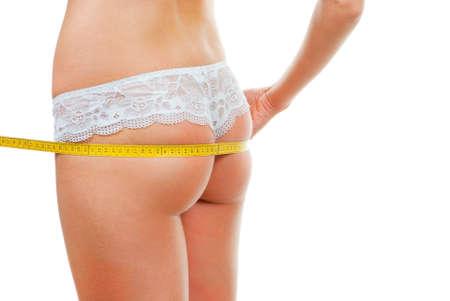 frauenarsch: Woman Ass Messung isolated over white background Lizenzfreie Bilder