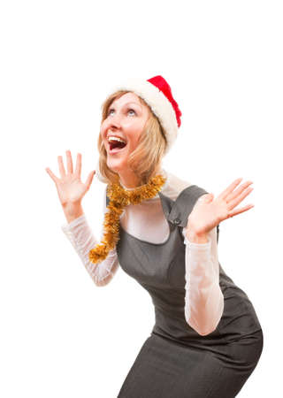 expects: Blonde expects gifts from Santa for Christmas Stock Photo