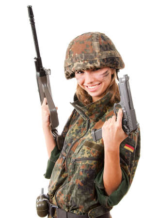 Happy armed military woman isolated over white background photo