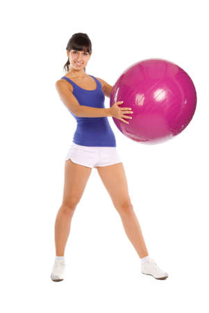 Beautiful fitness trainer with a big ball Stock Photo - 5851930