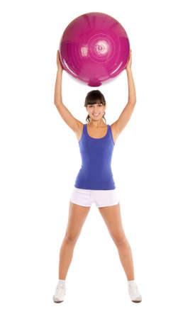 Beautiful fitness trainer with a big ball Stock Photo - 5851931