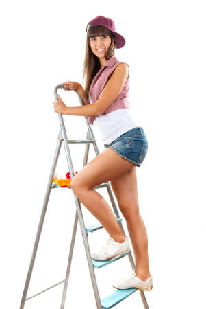 Beautiful and sexy girl is going to do repairs photo