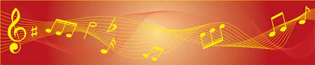 Musical red and yellow theme with treble clef, notes, staves. Vector