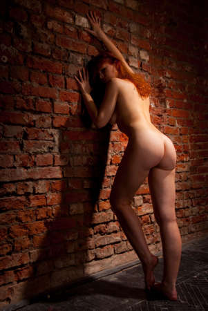 Young naked woman is leaning on a brick wall Stock Photo