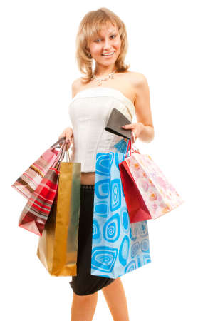 Happy girl after successful shopping with bags in her hands. Stock Photo - 6037784