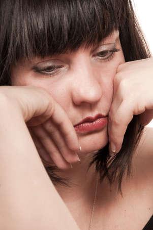 emotional grief: Mature sad woman portrait Stock Photo