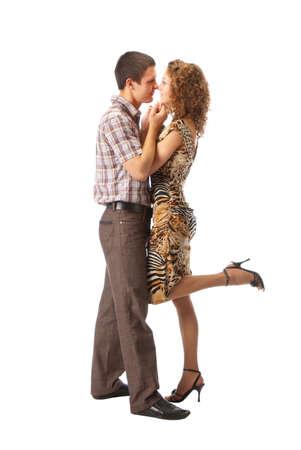 bailes de salsa: Pareja bailando sobre fondo blanco Foto de archivo