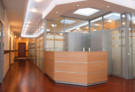reception office: Modern office interior - reception and perspective of corridor