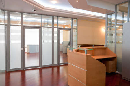 reception office: Modern office interior - reception and working places