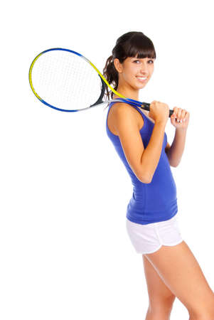 Young girl with a tennis racket over white background photo
