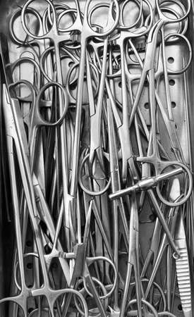 Surgical instruments black and white close-up Stock Photo - 7348389
