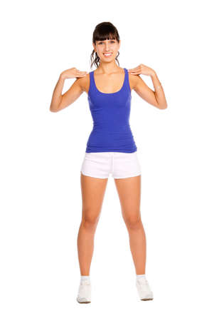Beautiful young fitness trainer standing  isolated over white background Stock Photo - 7314680