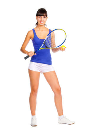tennis racquet: Tennis player young girl isolated over white background Stock Photo