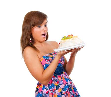 mujeres gordas: Chica quiere comer un pastel de todo.