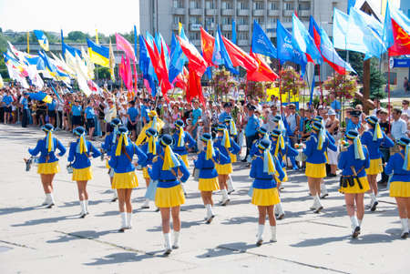SUMY - JUNE 28: Women drummers performance at celebration of the Constitution of Ukraine on June 28, 2010 in Sumy, Ukraine