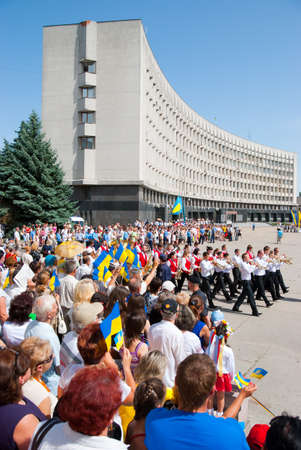 SUMY - JUNE 28: Crowd on the town square celebrate of the Constitution of Ukraine on June 28, 2010 in Sumy, Ukraine
