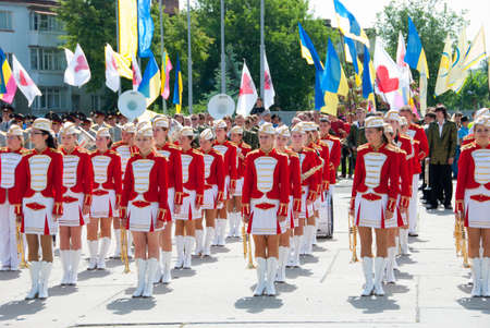 sumy: SUMY - JUNE 28: Female Brass Band  performance at celebration of the Constitution of Ukraine on June 28, 2010 in Sumy, Ukraine