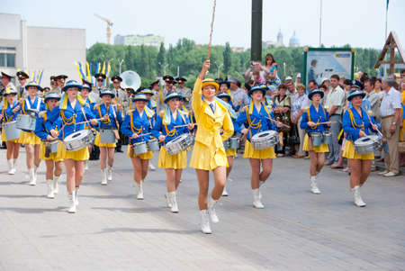 SUMY - JUNE 28: Women drummers performance at celebration of the Constitution of Ukraine on June 28, 2010 in Sumy, Ukraine