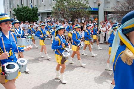 sumy: SUMY - JUNE 28: Women drummers performance at celebration of the Constitution of Ukraine on June 28, 2010 in Sumy, Ukraine
