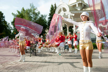sumy: SUMY - JUNE 28: Cheerleaders on the town square performing on the Constitution of Ukraine on June 28, 2010 in Sumy, Ukraine Editorial