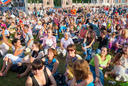 folk festival: MOSCOW - JULY 8: People celebrate   Editorial