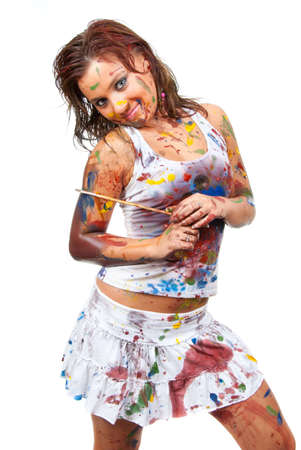 Happy girl, she is all smeared in paint Stock Photo - 7845130