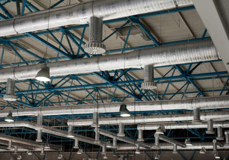 Ventilation system on the ceiling of large buildings photo
