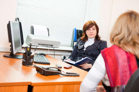 female lawyer: Business woman meets with a colleague on business Stock Photo