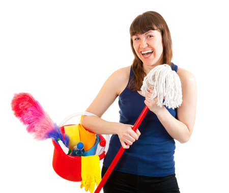 Young woman is ready for cleaning isolated over white photo