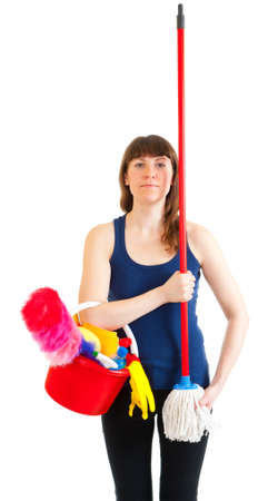 Young woman cleaner ready for war with mud Stock Photo