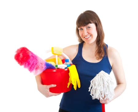 Young woman is ready for cleaning isolated over white Stock Photo - 9116701