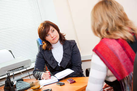 Business woman meets with a colleague on business  Stock Photo
