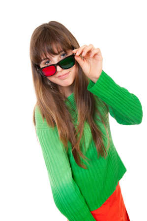 Girl wearing 3D glasses isolated over white background photo