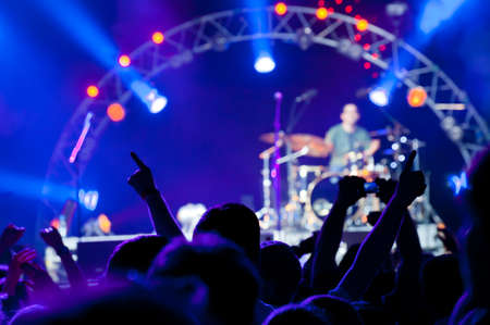 Crowd of fans at an open-air live concert Stock Photo - 9757856
