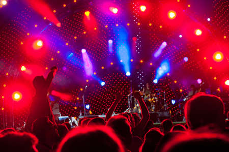Crowd of fans at an open-air live concert Stock Photo - 9757858