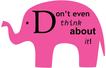 pink elephant: Dont think about pink elephant - design for T-shirt