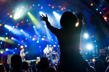foule mains: Foule de fans � un concert en plein air direct