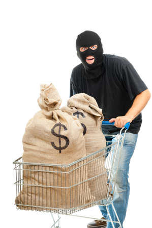 stealer: Lucky robber carries in the shopping cart two sacks full of dollars