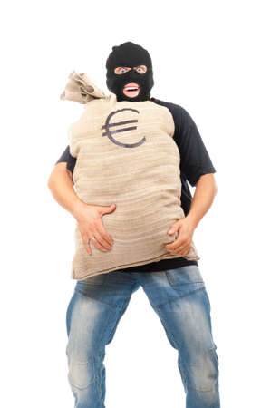Happy robber with sack full of euro isolated on white Stock Photo - 10406219