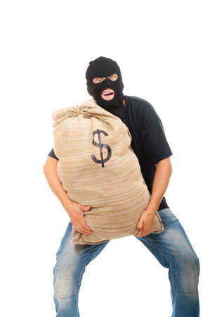Happy robber with sack full of dollars isolated on white photo